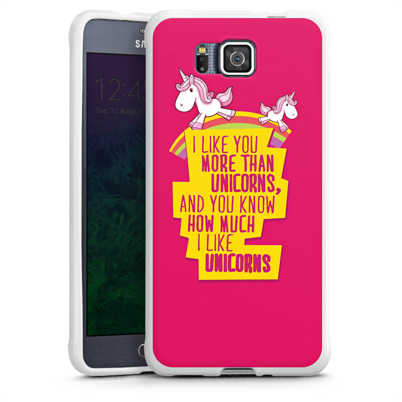 unicorn 4 f r silikon case wei f r samsung galaxy alpha von deindesign. Black Bedroom Furniture Sets. Home Design Ideas